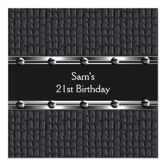 Mens 21st Birthday Party Leather Black Mans Card