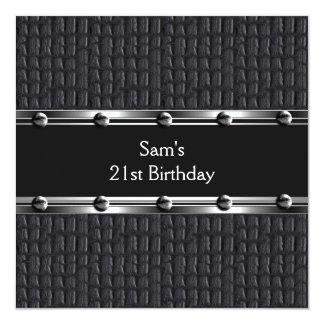 Mens 21st Birthday Party Leather Black Mans Invitation