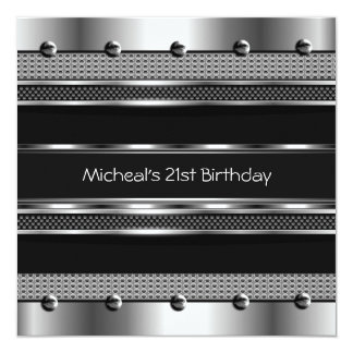Mens 21st Birthday Party Metal Black Mans Personalized Announcements