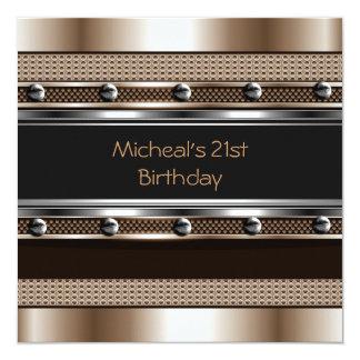 Mens 21st Birthday Party Metal Black Mans Custom Invites