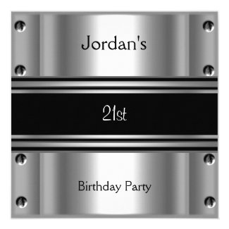 Mens 21st Birthday Party Metal Black Silver Card