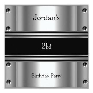 Mens 21st Birthday Party Metal Black Silver Invite