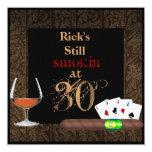 "MENS 30th Birthday Cigars,Poker BRANDY INVITATIONS 5.25"" Square Invitation Card"