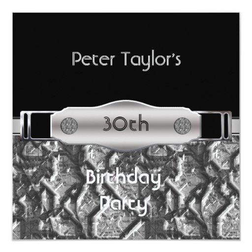 Mens 30th Birthday Party Chrome Metal Silver Man 5.25x5.25 Square Paper Invitation Card