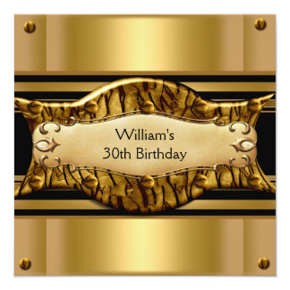 Mens 30th Birthday Party Gold Black Exotic Personalized Invitation