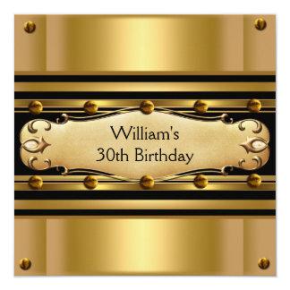 Mens 30th Birthday Party Gold Black Mans 2 Invitations