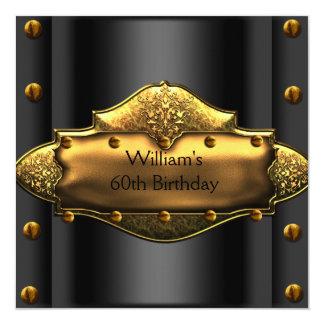 Mens 30th Birthday Party Gold Black Mans 3 Custom Invite