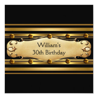 Mens 30th Birthday Party Gold Black Mans 3 Personalized Invitations