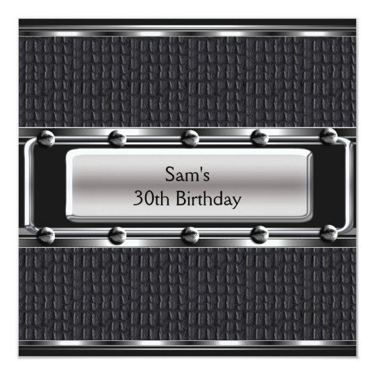 Mens 30th Birthday Party Leather Silver Look Card