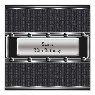 Mens 30th Birthday Party Leather Silver Look Custom Announcement