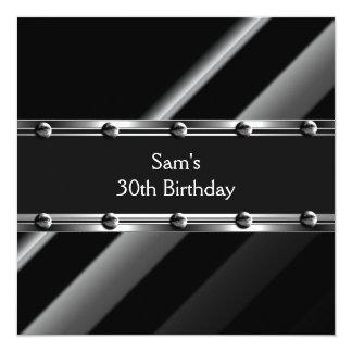 Mens 30th Birthday Party Metal Black Mans Invitation