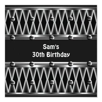 Mens 30th Birthday Party Metal Black Mans Custom Invites