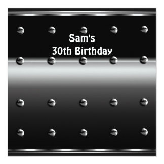 Mens 30th Birthday Party Metal Black Mans Announcements