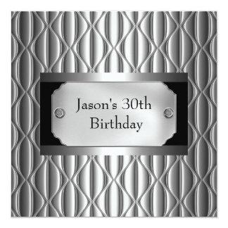 Mens 30th Metal Chrome Black White Style Silver Card