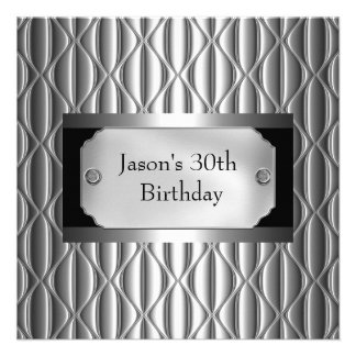 Mens 30th Metal Chrome Black White Style Silver Personalized Invites
