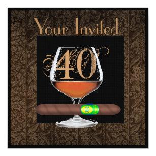 Cognac invitations zazzle mens 40th birthday invitations cognac template filmwisefo