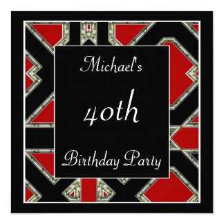 Men's 40th birthday Party  Black Red Art Deco Card
