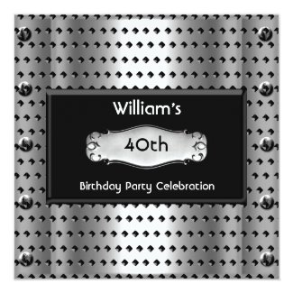 Mens 40th Birthday Party Silver Metal Studs Black Invitation