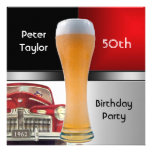 Mens 50th 1962 Birthday Red Retro Red Car Beer Personalized Invite