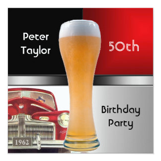 "Mens 50th 1962 Birthday Red Retro Red Car Beer 5.25"" Square Invitation Card"