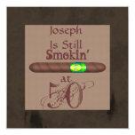 """Men's 50th Birthday Cigar Invitations Still Smokin 5.25"""" Square Invitation Card"""