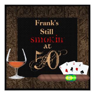 MENS 50th Birthday Cigars,Poker BRANDY INVITATIONS