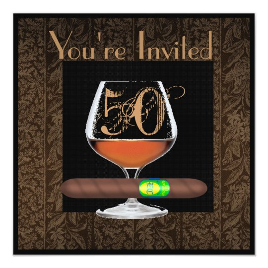 MENS 50th Birthday INVITATIONS COGNAC TEMPLATE