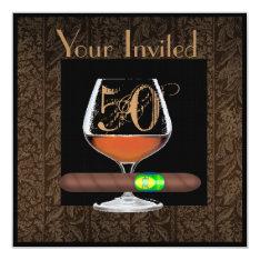 Mens 50th Birthday Invitations Cognac Template at Zazzle