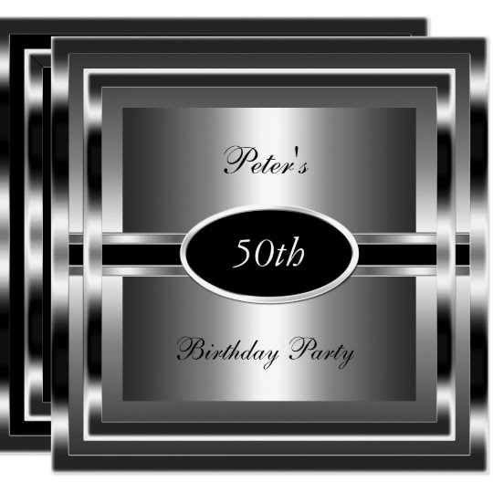 Mens 50th Birthday Party Black Silver Invitation