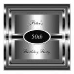 Mens  50th Birthday Party Black  Silver 5.25x5.25 Square Paper Invitation Card