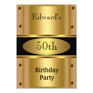 Mens 50th Birthday Party Gold Black Personalized Invite