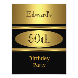 Mens 50th Birthday Party Gold Black Personalized Invitations