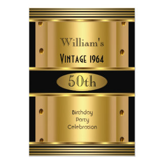 Men's 50th Birthday Party Gold Black Vintage 2 Card