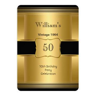 Men's 50th Birthday Party Gold Black Vintage 2 Card