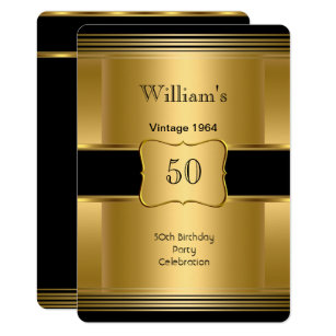 Mens 50th Birthday Party Gold Black Vintage 2 Invitation