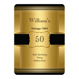 Men's 50th Birthday Party Gold Black Vintage 2 Personalized Announcement