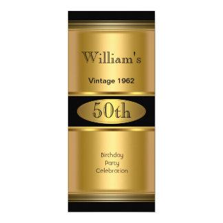 Mens 50th Birthday Party Gold Black Vintage 4x9.25 Paper Invitation Card