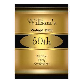 Mens 50th Birthday Party Gold Black Vintage 5x7 Paper Invitation Card