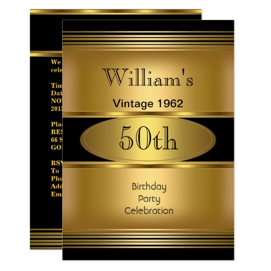 Mens 50th Birthday Party Gold Black Vintage Invitation