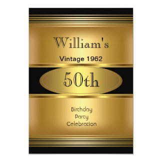 Mens 50th Birthday Party Gold Black Vintage Announcements
