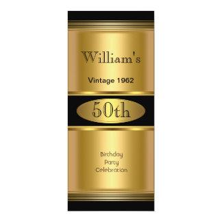 Mens 50th Birthday Party Gold Black Vintage Invitations