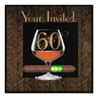 MENS 60th Birthday INVITATIONS COGNAC TEMPLATE
