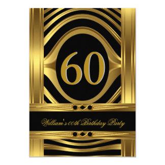 Men's 60th Birthday Metal Gold Look Black Jewel Card