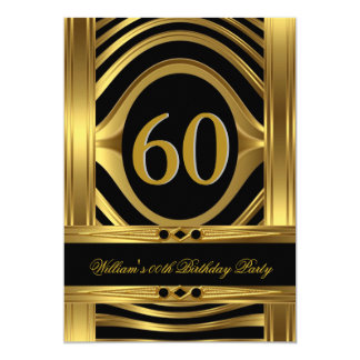 Men's 60th Birthday Metal Gold Look Black Jewel 5x7 Paper Invitation Card