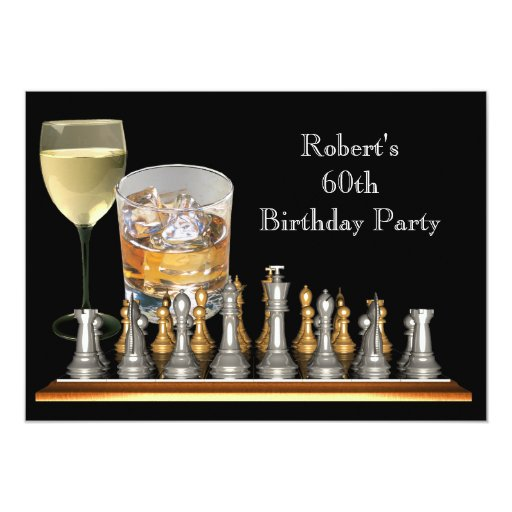 Mens 60th Birthday Party Chess Set Drinks Card   Zazzle