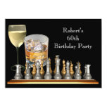 Mens 60th Birthday Party Chess Set Drinks Personalized Announcements
