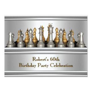 Mens 60th Birthday Party Chess Set Metal Card