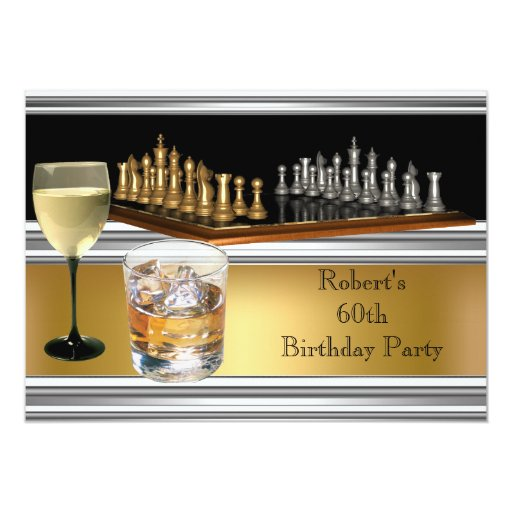 Mens 60th Birthday Party Chess Set Wine Gold Card
