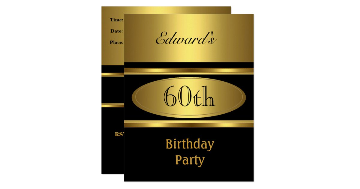 Mens 60th birthday party gold black card zazzle - Birthday decorations for mens th ...