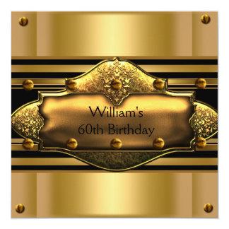 Mens 60th Birthday Party Gold Black Mans Card